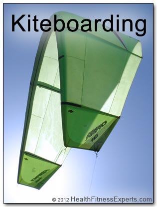 A kiteboarding kite flies high.